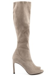 Stuart Weitzman Peep Toe Knee High Boots Nude And Neutrals