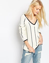 Asos Cricket Sweater With V Neck And Tipping Cream