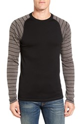 Smartwool Men's Nts Contrast Sleeve Wool T Shirt Black Taupe Heather