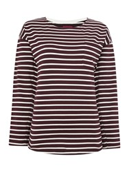 Joules Drop Shoulder Striped Jersey Top Red