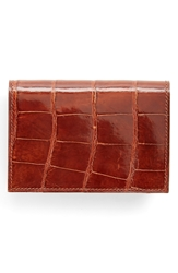 Boconi Alligator Card Case Tan