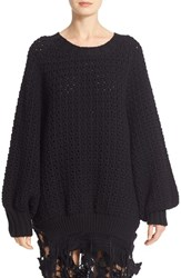 Simone Rocha Women's Long Chunky Knit Wool Sweater With Fringe