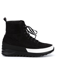 Ridged Sole Hi Top Sneakers Black