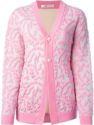 Julien David Embossed Cardigan Pink And Purple