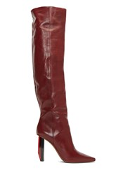 Vetements Thigh High Reflector Heeled Boots Burgundy