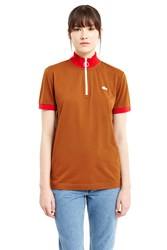 Lacoste For Opening Ceremony Cyclist Zipper Collar Polo Shirt Brown Red