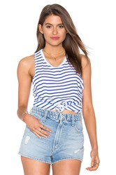 Sundry Supima Slub Stripes Hi Low Tank Blue