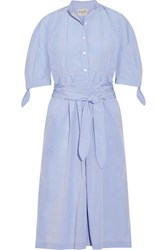 Sea Cotton Poplin Midi Dress Light Blue
