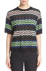 M Missoni Women's Zigzag Short Sleeve Knit Top Marine