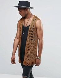 Asos Crochet Sleeveless Open Cardigan Camel Brown