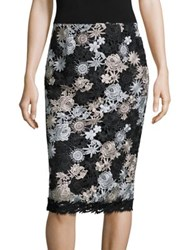 Nanette Lepore Lucky Lace Pencil Skirt Black Silver