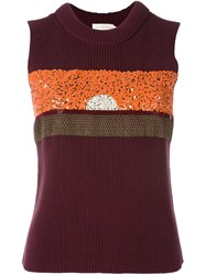 Tory Burch Embellished Ribbed Knit Tank Pink And Purple