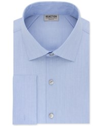 Kenneth Cole Reaction Men's Slim Fit Broadcloth French Cuff Dress Shirt Bluejay