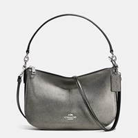 Coach Chelsea Crossbody In Polished Pebble Leather Silver Gunmetal
