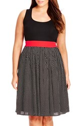 Plus Size Women's City Chic 'Contrast Spot' Mixed Media Dress Black Small Spot