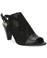 Tahari Eloise Perforated Peep Toe Slingback Sandals Women's Shoes Black