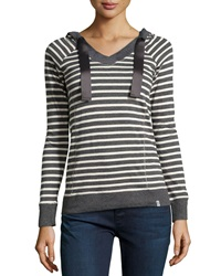 Marc Ny Performance Striped Hooded Long Sleeve Tee Charcoal Combo