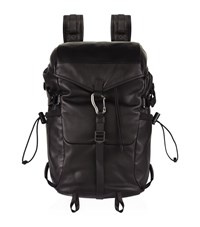 Ralph Lauren Purple Label Leather And Canvas Backpack Unisex Black
