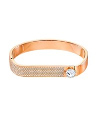 Swarovski Crystal And Rose Gold Hinged Bangle