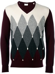 Ballantyne Geometric Intarsia Jumper Red