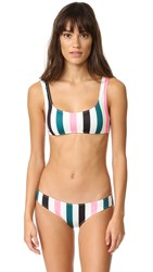 Solid And Striped The Elle Bikini Top Black Jade Coral Stripe