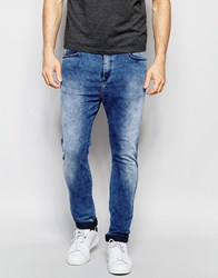 Replay Hyperfree Ma947 Slim Tapered Low Crotch Jeans Superstretch In Acid Blue Acid Blue