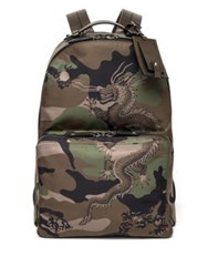 Valentino Leather Trim Camo Dragon Backpack Army Green