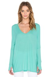 Michael Lauren Hyde Long Sleeve Draped Thumbhole Tee Turquoise
