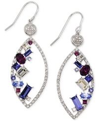 Sis By Simone I Smith Purple White And Blue Crystal Marquise Drop Earrings In Platinum Over Sterling Silver