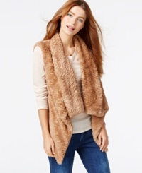 Celebrity Pink Draped Faux Fur Vest Natural Brown