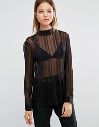 Selected Milla Gold Thread See Through Top Black