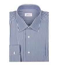 Brioni Washed Stripe Cotton Formal Shirt Male Blue