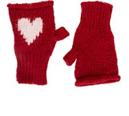 Wooden Ships Intarsia Knit Fingerless Mittens Red