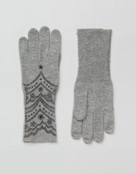 Alice Hannah Scallop Lace Print Gloves Cloud White