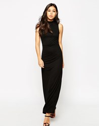 Asos Column Maxi Dress With High Neck Black