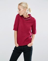 Asos Jumper With Ruffle High Neck Dark Red