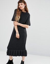 Rokoko Knitted T Shirt Dress With Peplum Hem Charcoal Black