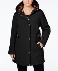 Via Spiga Plus Size Water Repellent Hooded Raincoat Black
