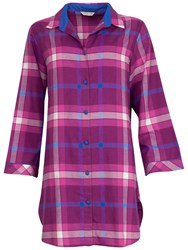 Cyberjammies Lightly Brushed Check Nightshirt Magenta