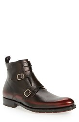 Mezlan Men's Double Monk Strap Lace Up Boot Burgundy