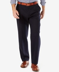 Dockers Men's Signature Relaxed Fit Khaki Flat Front Stretch Pants Dockers Navy