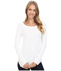 Dylan By True Grit Softest Slub Waffle Long Sleeve Seamed Thermal Crew White Women's Long Sleeve Pullover