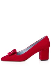 Velvet Low Heel Courts By Unique Red