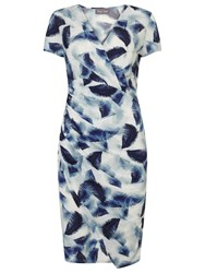 Phase Eight Feather Print Dress Ivory Blue