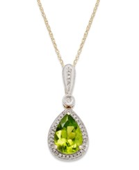 Macy's 14K Gold Necklace Peridot 1 3 4 Ct. T.W. And Diamond Accent Pear Cut Pendant
