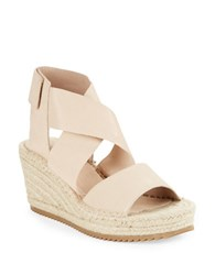 Eileen Fisher Willow Tumbled Leather Espadrilles Platform Wedge Sandals Desert