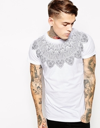 Asos T Shirt With Aztec Yoke Print And Rolled Sleeve Skater Fit White