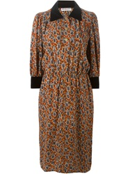 Yves Saint Laurent Vintage Calico Print Shirt Dress Multicolour