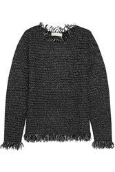Michael Michael Kors Fringed Knitted Sweater Gray