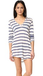 Splendid Striped Hooded Tunic Navy